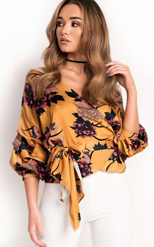 Kylie  Floral Ruffled Kimono Wrap Top