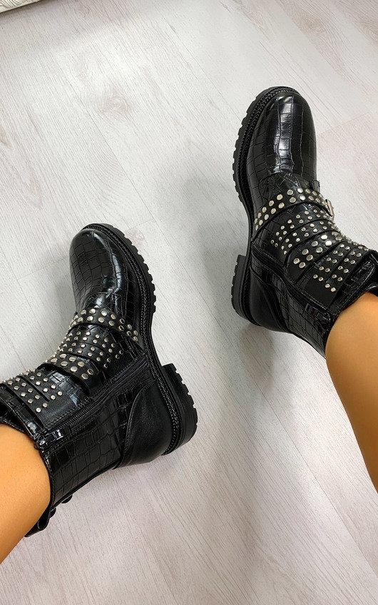 Kylie Buckle Studded Croc Print Ankle Boots