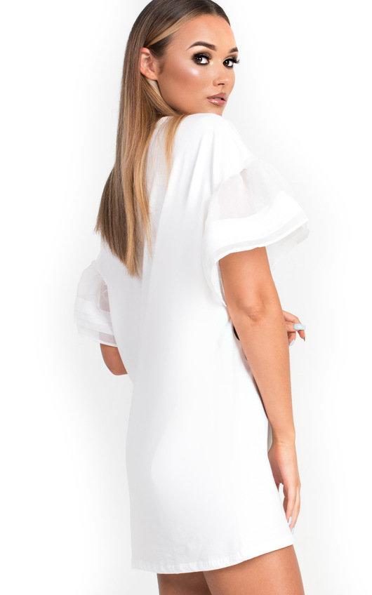 8e9dfc25bb9f Kyro Slogan Embellished T-Shirt Dress in White | ikrush