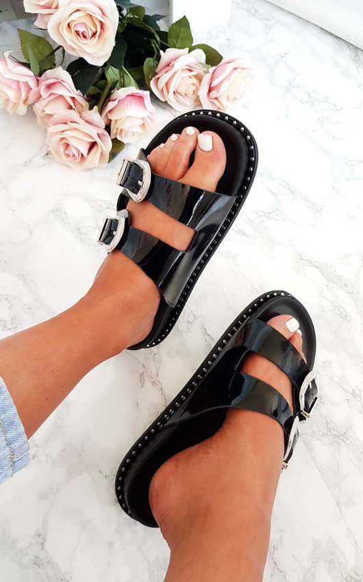 Lacey Double Buckled Slip On Sandal