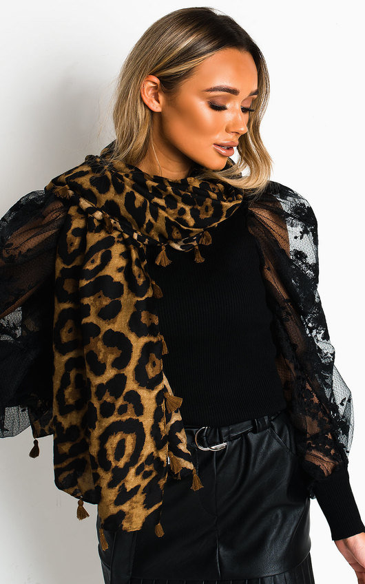 Lacey Leopard Detail Scarf