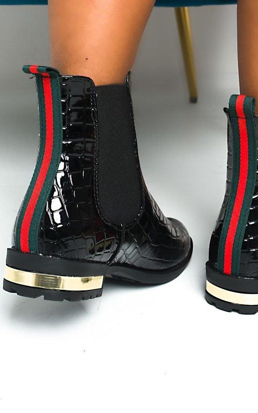 Laila Croc Print Patent Ankle Boots