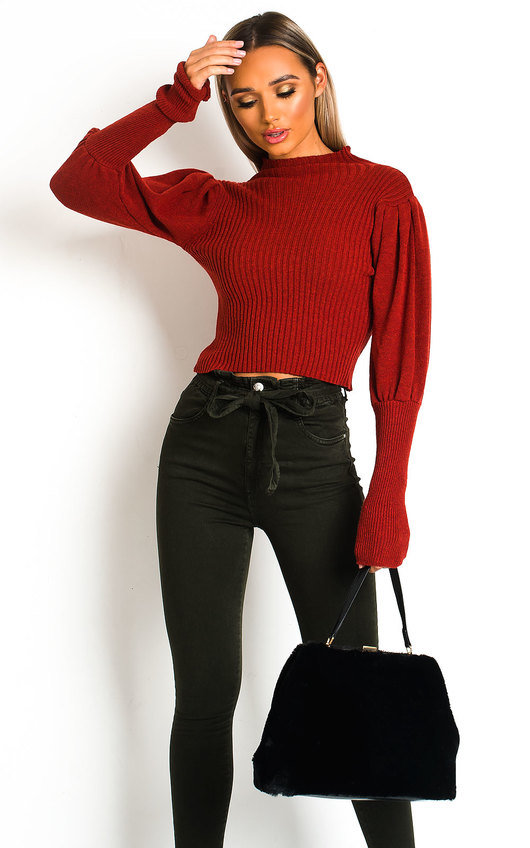 Lala Puff Sleeve Ribbed Knit Jumper
