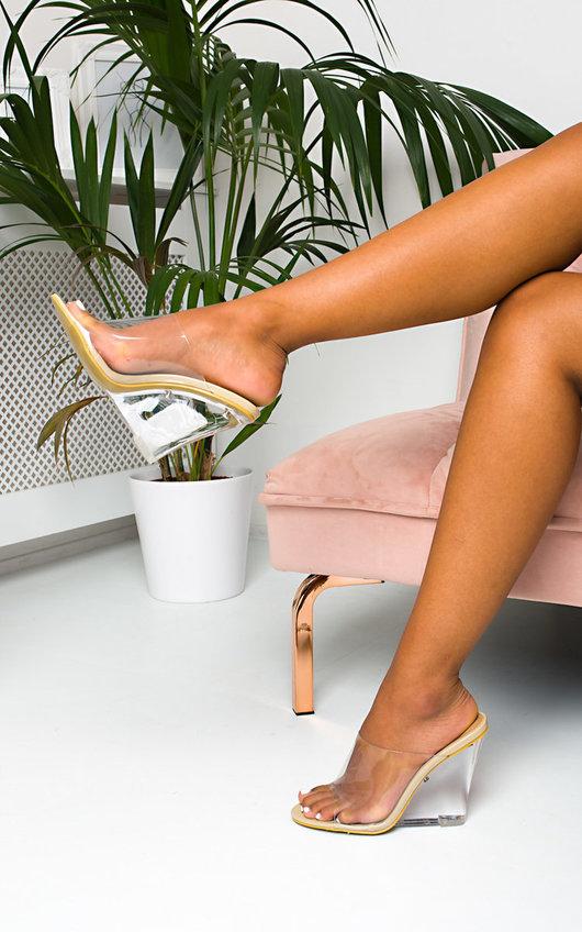 Lalah Perspex Wedge Mule Heels