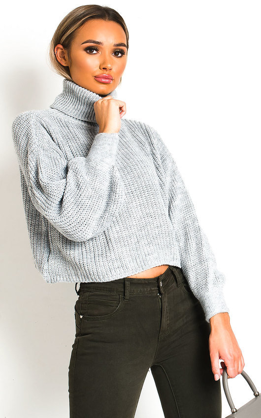 Lana Chunky Knit High Neck Cropped Jumper