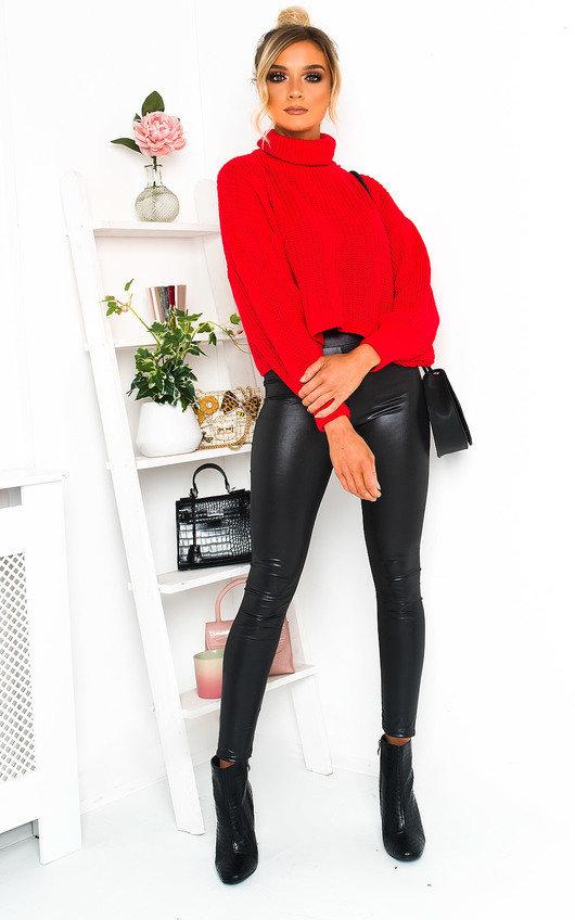 Lana Chunky Knit High Neck Cropped Jumper
