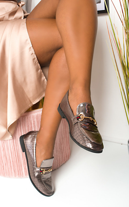 Laney Croc Print Brogue Sandals