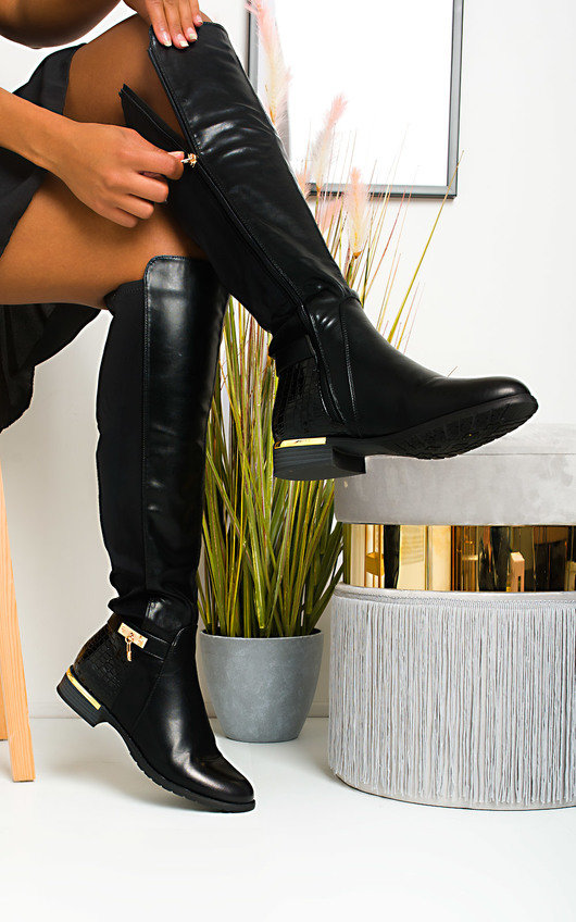 Laney Faux Leather Knee High Buckle Boots