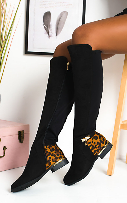Laney Faux Suede Knee High Buckle Boots