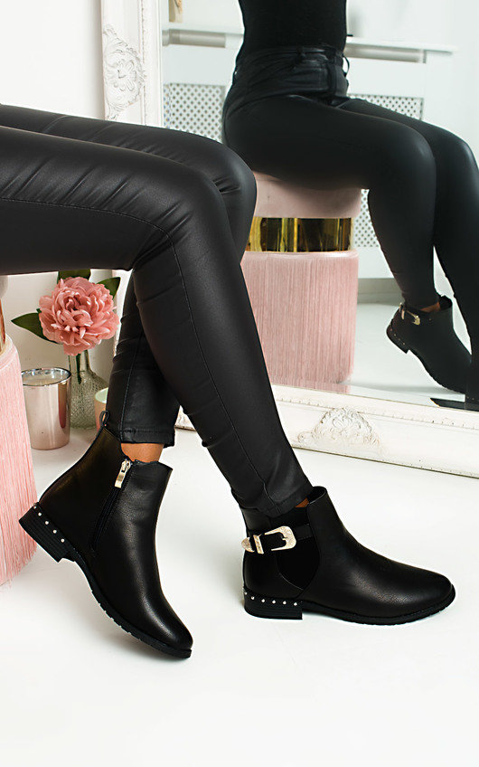 Lara Buckle Faux Leather Ankle Boots