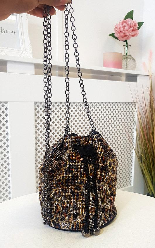 Lara Leopard Diamante Pouch Bag