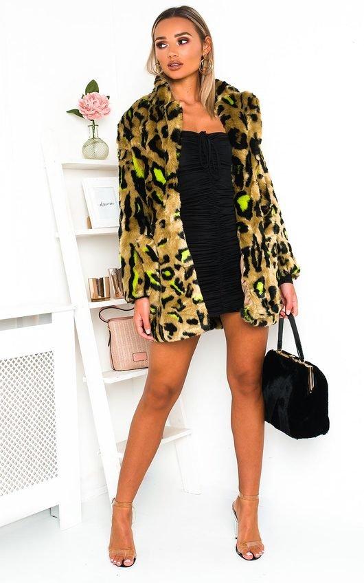 Lara Leopard Print Faux Fur Coat