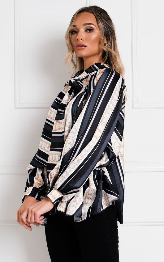 Lara Printed Tie Neck Oversized Shirt Top