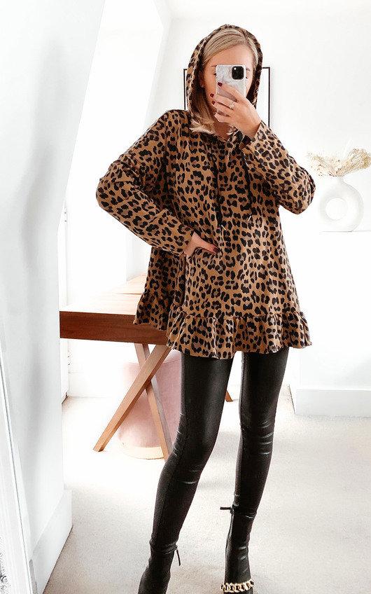 Larah Leopard Print Frill Jumper