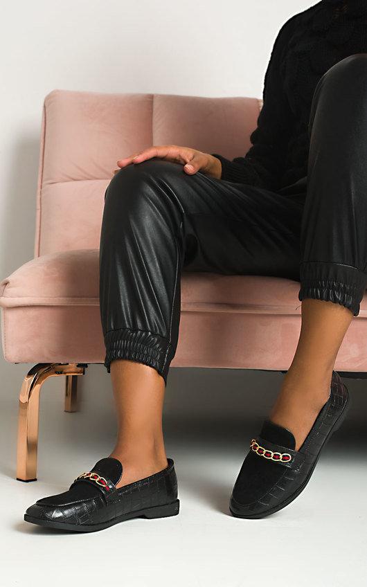 Larsa Faux Leather Brogue Flats