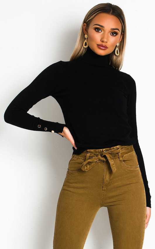 Larsa Roll Neck Knitted Ribbed Jumper