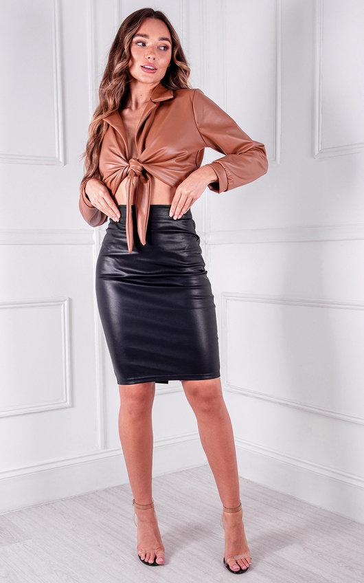 Latisha Faux Leather Midi Skirt