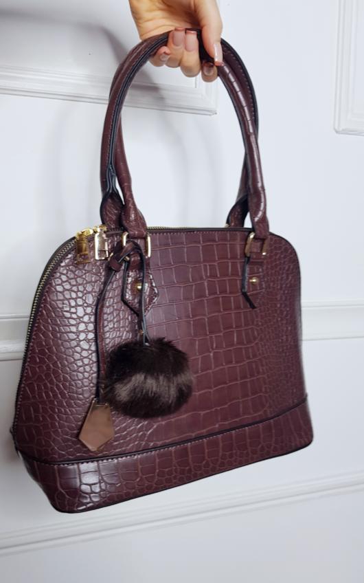 Lauren Croc Print Shoulder Bag