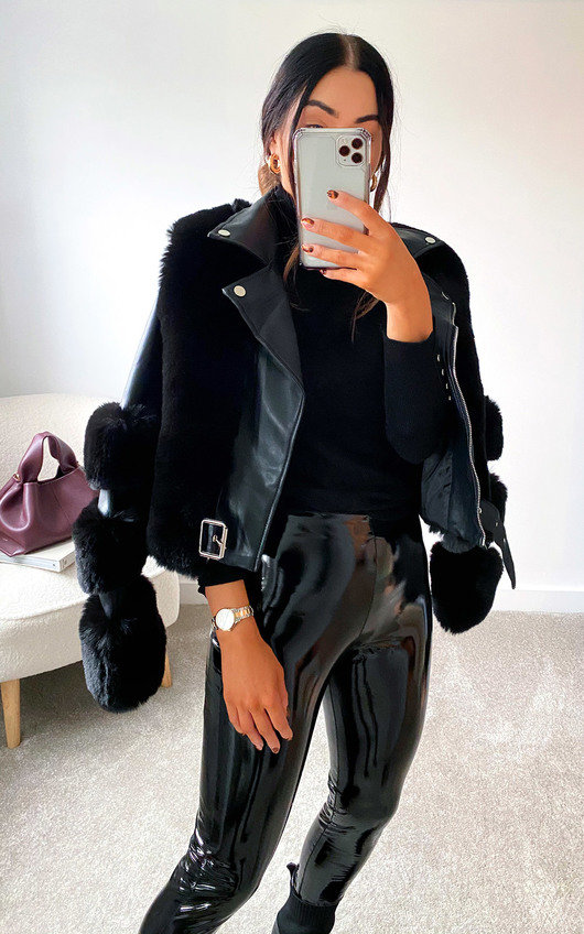 Lauren Faux Leather & Faux Fur Collared Jacket