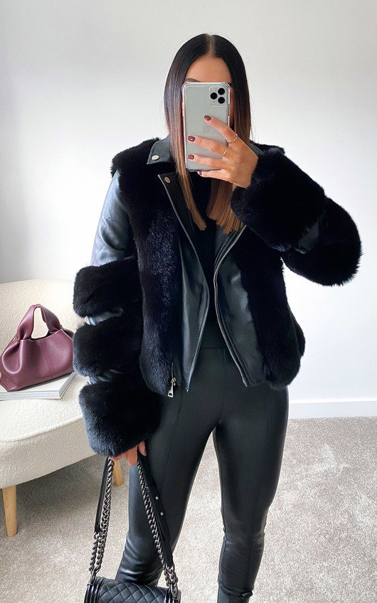 Lauren Faux Leather & Faux Fur Jacket