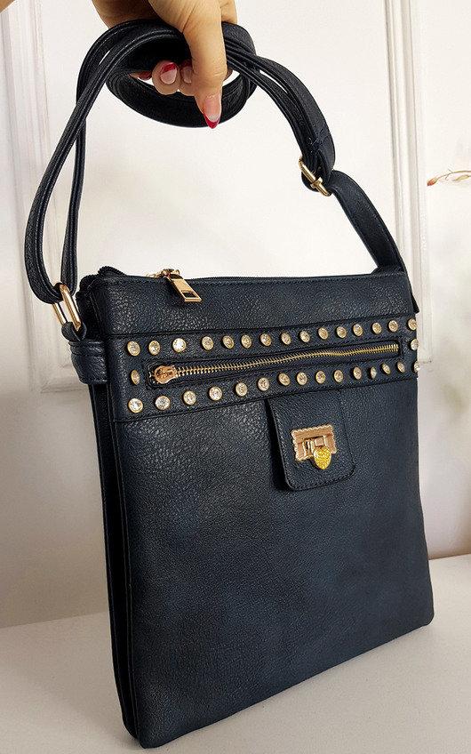 Lauren Faux Leather Shoulder Bag with Gold Detail