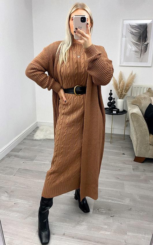 Lauren Knitted Longline Dress & Cardigan Co-Ord