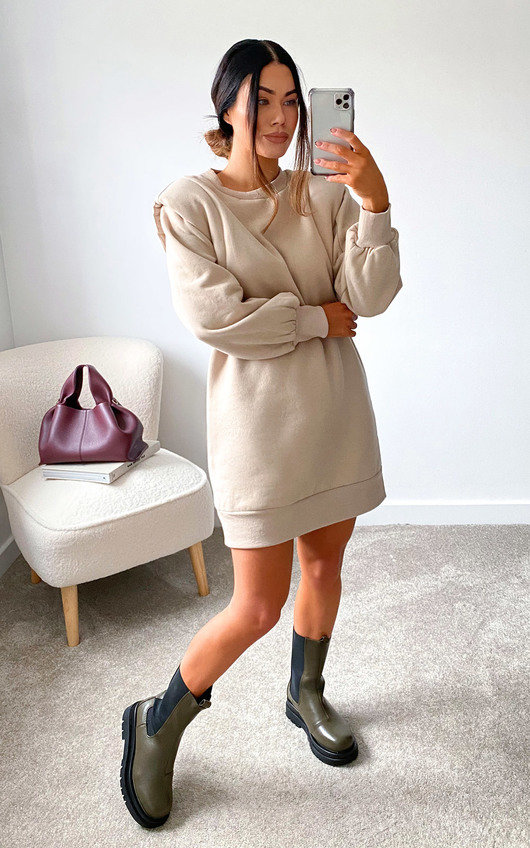 Lauren Padded Shoulder Jumper Dress