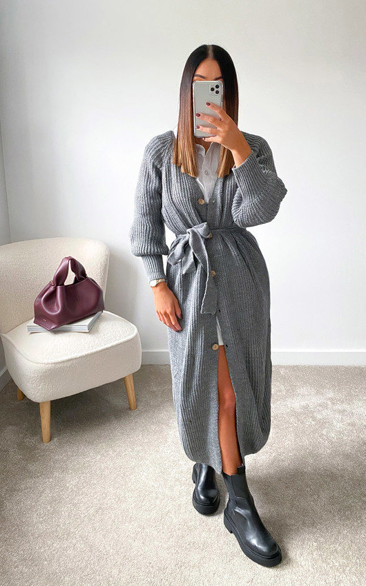 Lauren Puff Sleeve Longline Knitted Cardigan