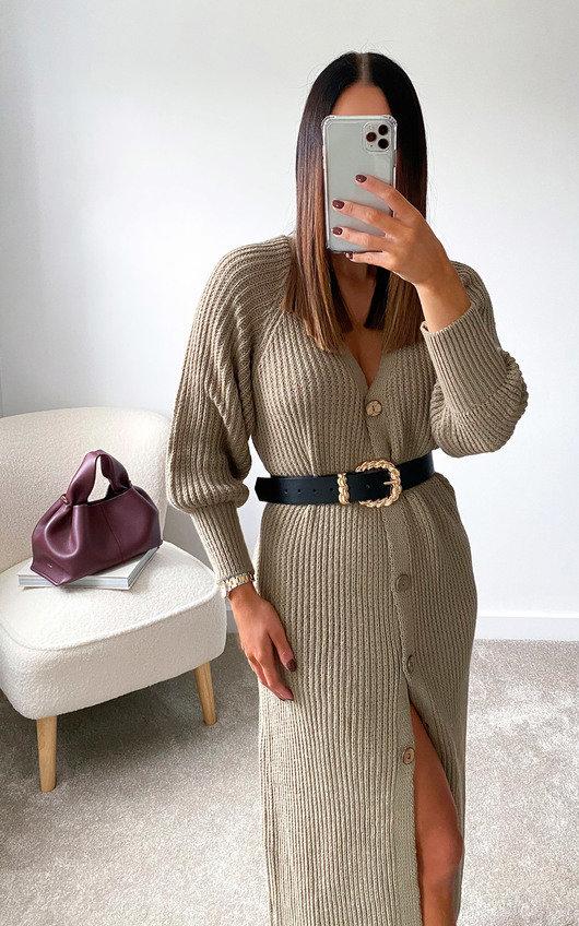 Lauren Puff Sleeve Longline Knitted Cardigan