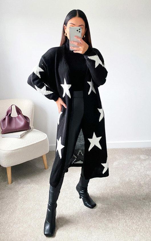 Lauren Star Print Longline Knitted Cardigan