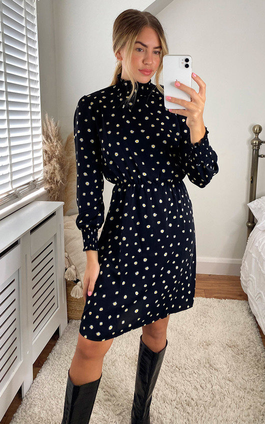 Laurie Dotted Printed High Neck Dress