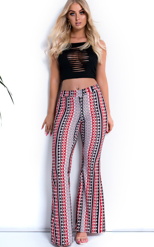 Laurie Printed Flared Stretch Trousers