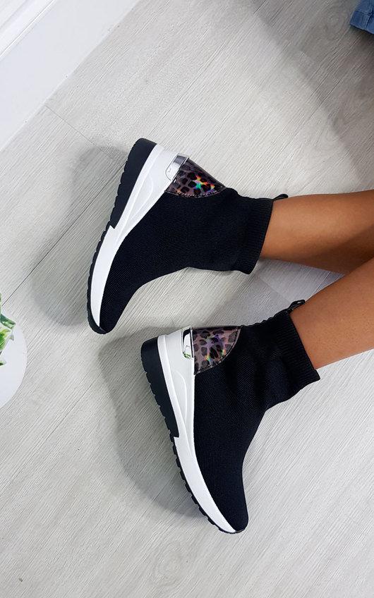 Lauryn Leopard Print Chunky Sock Trainers