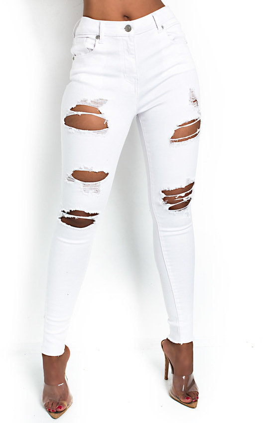 Layla Distressed White Skinny Jeans