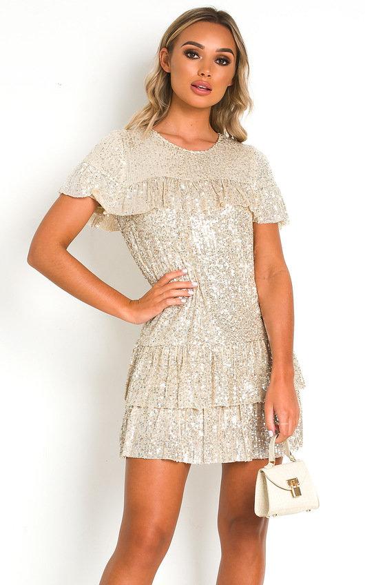 Layla Sequin Layered T-Shirt Mini Dress