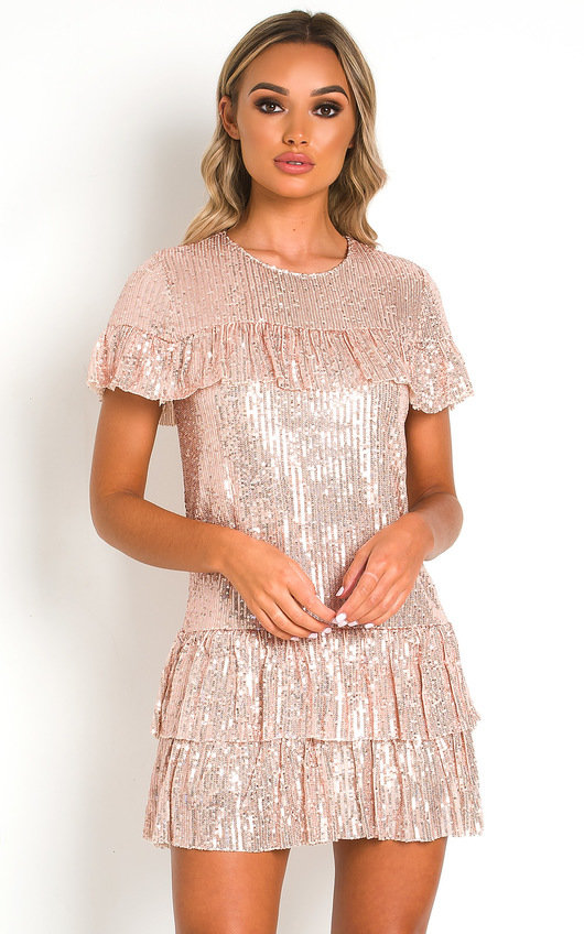 Layla Sequin Layered T-Shirt Mini Dress