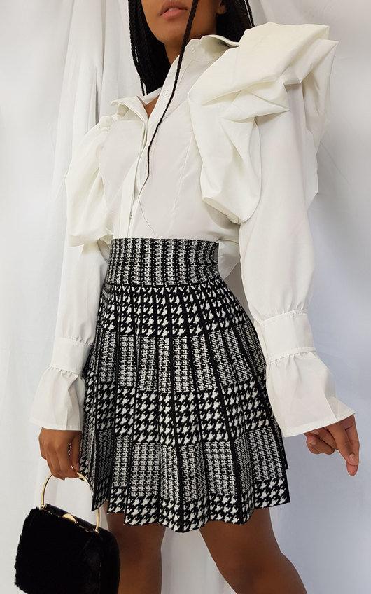 Layla Two Tone Pleated Mini Skirt