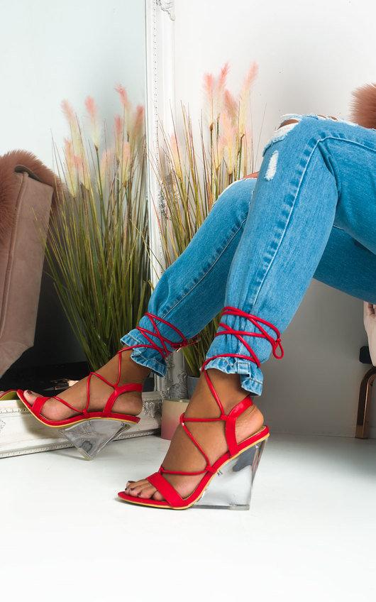 Laylie Perspex Wedge Tie Up Heels