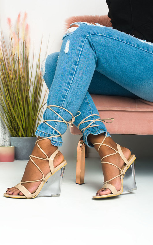 Laylie Perspex Wedge Tie Up Heels