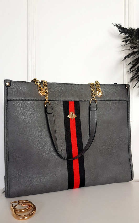 Leanne Faux Leather Chain Shoulder Bag with Stripe Detail