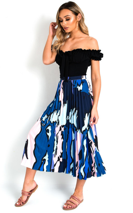 Leena Pleated Print Midi Skirt