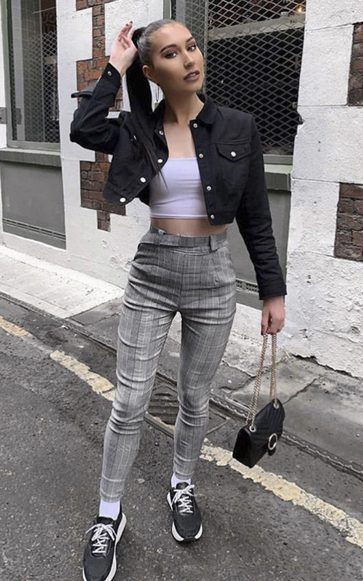 Leigh Checked Tailored Trousers