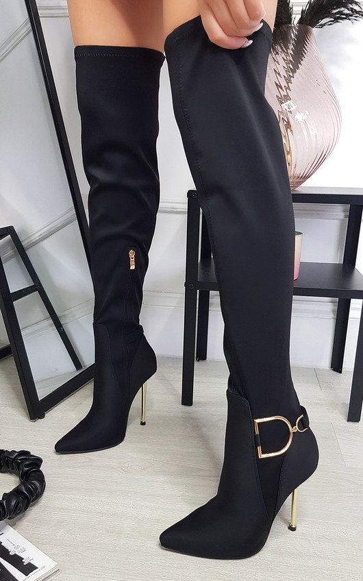 Leigh Knee High Boots with Gold Detail