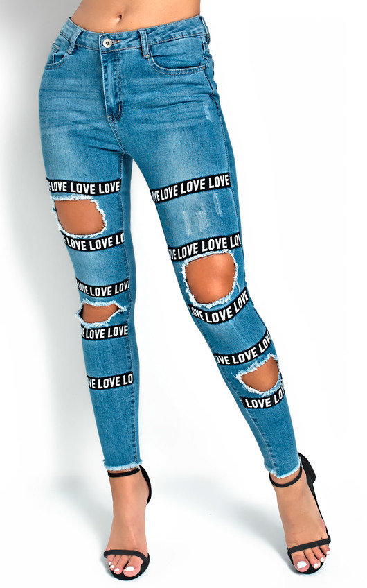 Leila Love Slogan Distressed Jeans