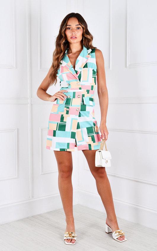 Lelina Sleeveless Printed Blazer Dress