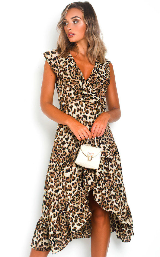 Leo Leopard Print Wrap Midi Dress