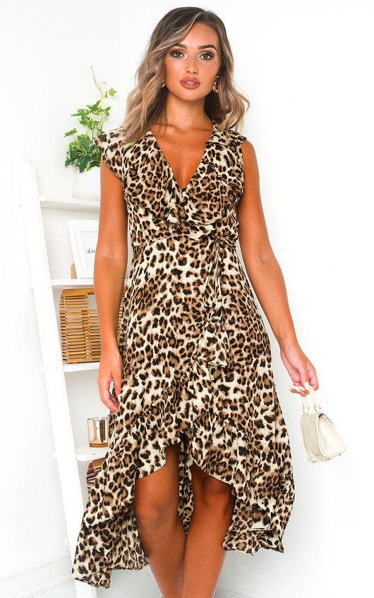 Leo Leopard Print Wrap Midi Dress
