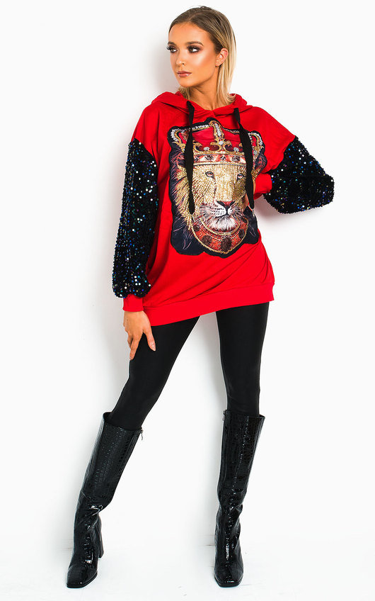 Leo Sequin Embellished Oversized Hooded Jumper