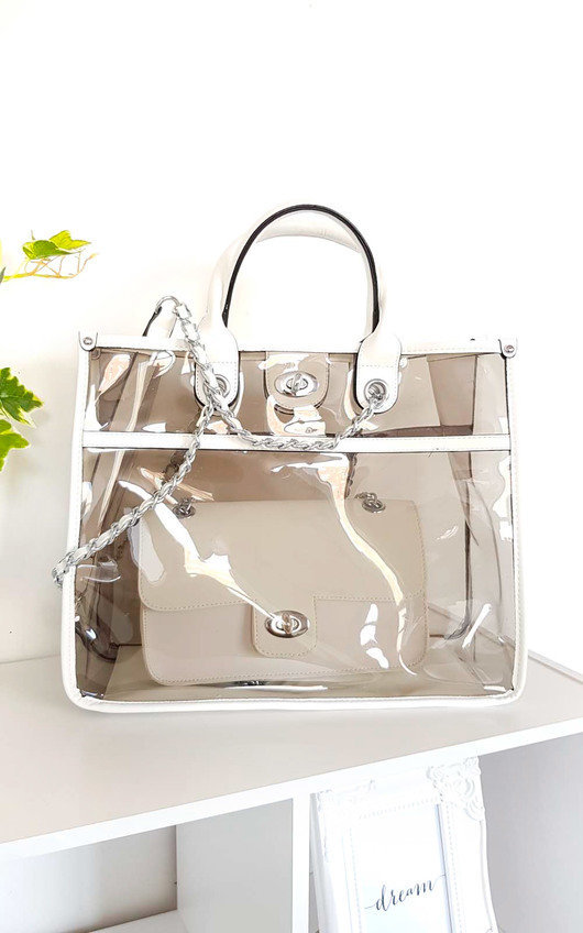 Leona Transparent Two in One Tote Handbag