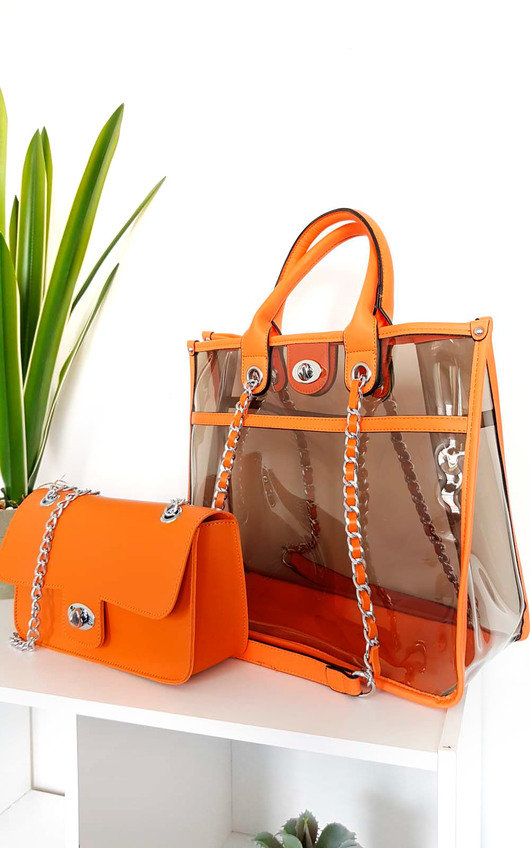 Leona Transparent Two in One Tote Handbag